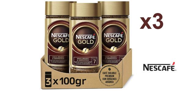 Pack x3 Café soluble Nescafé Gold Natural de 100 gr/ud barato en Amazon