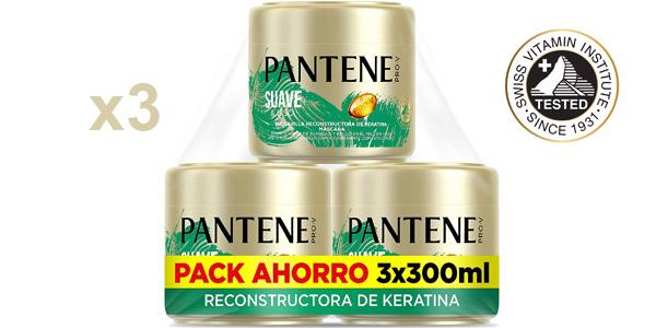 Pack x3 Mascarilla reconstructora de keratina Pantene Suave & Liso de 300 ml/ud barato en Amazon