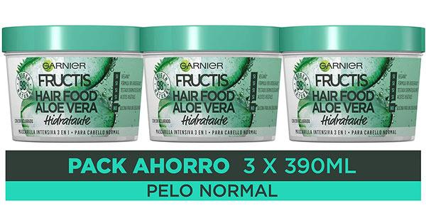 Pack x3 Mascarillas 3 en 1 Garnier Fructis Hair Food Aloe Vera Hidratante de 390 ml/ud barato en Amazon
