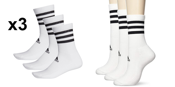 Pack x3 Calcetines unisex Adidas CSH baratos en Amazon