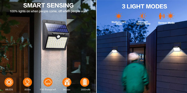 Pack x4 Focos LED solares para exterior Kilponen chollo en Amazon