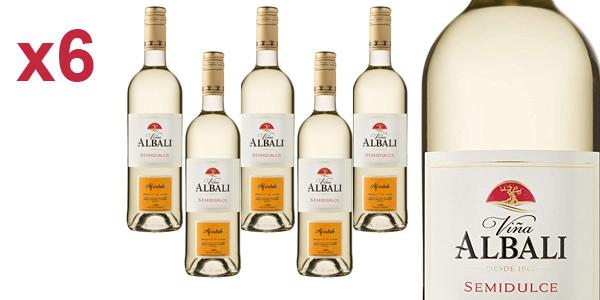Pack x6 Viña Albali vino blanco semidulce de 750 ml/ud barato en Amazon
