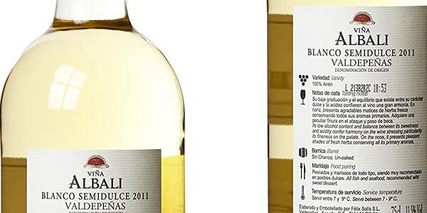 Pack x6 Viña Albali vino blanco semidulce de 750 ml/ud chollo en Amazon