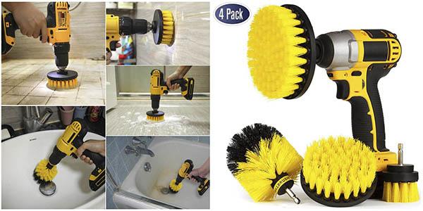 Pack 4x Cepillos limpiadores para acoplar al taladro