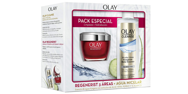 Pack Crema hidratante Día Olay Regenerist 3 áreas + agua micelar húngara con extracto de aloe vera y pepino barato en Amazon