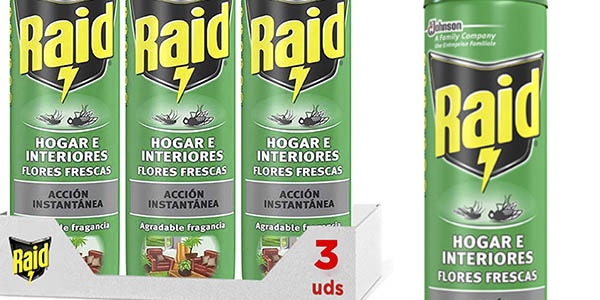Raid Hogar interiores flores frescas insecticida aerosol pack ahorro