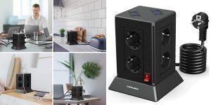 Regleta vertical Yaruike con 8 enchufes AC y 8 puertos USB barata en Amazon