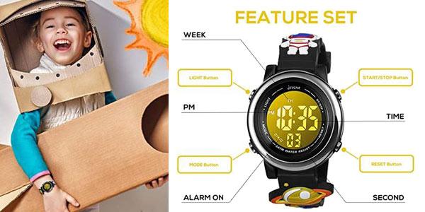Reloj digital infantil unisex Bigmeda con retroiluminación LED RGB chollo en Amazon
