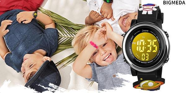 Reloj digital infantil unisex Bigmeda con retroiluminación LED RGB barato en Amazon