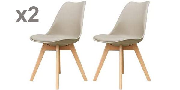 Set x2 sillas de polipropileno Zons con patas de madera baratas en Amazon