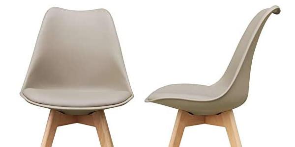 Set x2 sillas de polipropileno Zons con patas de madera chollo en Amazon
