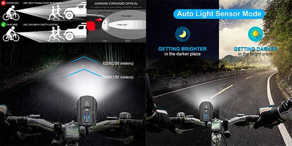 Set de luces Stator recargable impermeable para bicicleta barato