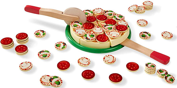 Set Pizza de madera Melissa & Doug con 54 ingredientes en oferta