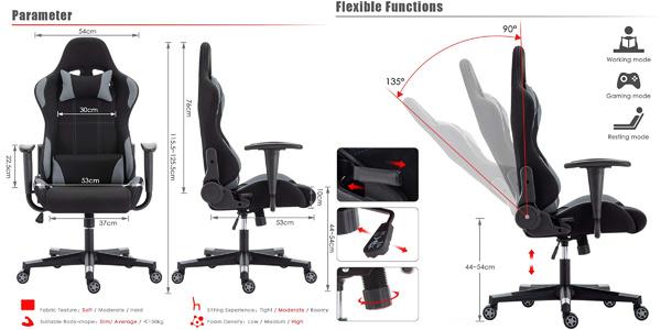 Silla gaming IntimaTe WM Heart con respaldo reclinable y altura regulable chollo en Amazon