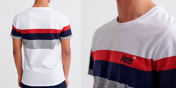 Camiseta Superdry Orange Label de franjas para hombre barata