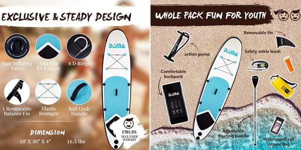 Tabla de Surf Dama de remo inflable para principiantes oferta en Amazon