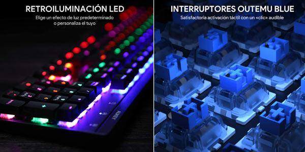 Teclado mecánico con retroiluminación LED Aukey oferta en Amazon