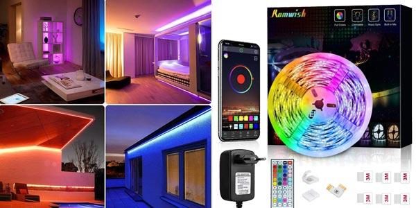 Tira LED 5050 Romwish de 5 m con control remoto y Bluetooth barata en Amazon