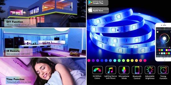 Tira LED 5050 Romwish de 5 m con control remoto y Bluetooth chollo en Amazon