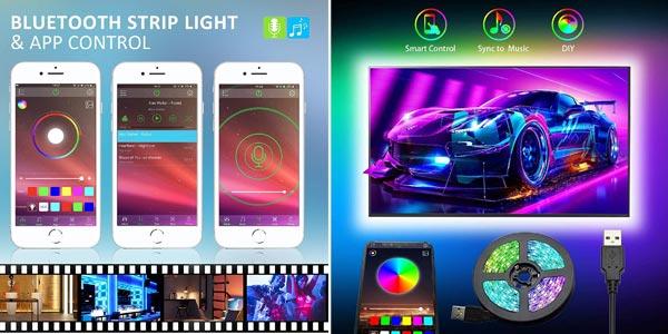 Tiras LED TV RGB Romwish de 3M conexión Bluetooth baratas en Amazon
