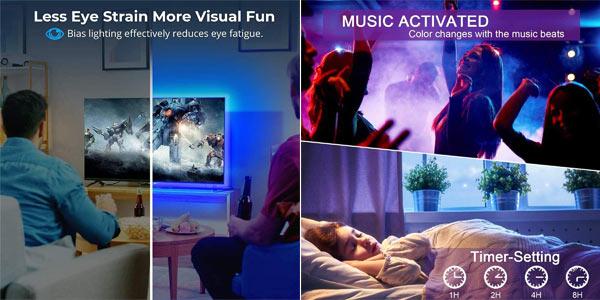 Tiras LED TV RGB Romwish de 3M conexión Bluetooth chollo en Amazon