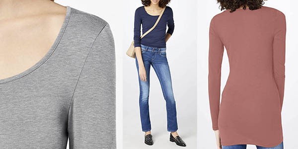 Vero Moda Vmmaxi My LS Soft Long U Neck Noos camiseta casual larga oferta