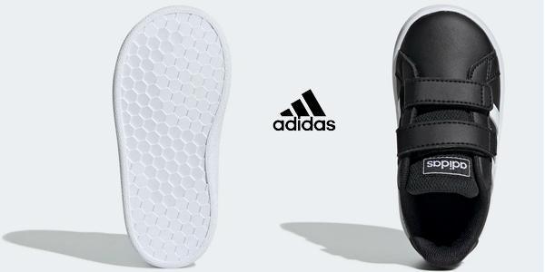 Zapatillas con velcro Adidas Grand Court I para bebé oferta en Amazon