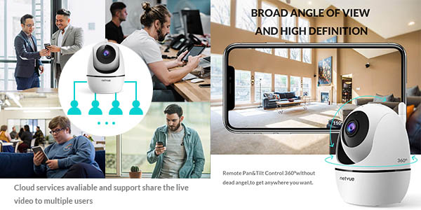 Cámara WiFi Netvue YT 360º 1080p en Amazon