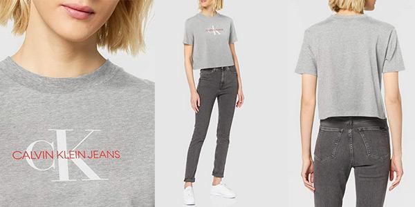Camiseta de manga corta Calvin Klein Monogram Modern Straight Crop para mujer barata en Amazon