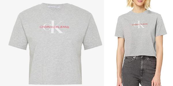Camiseta de manga corta Calvin Klein Monogram Modern Straight Crop para mujer chollo en Amazon