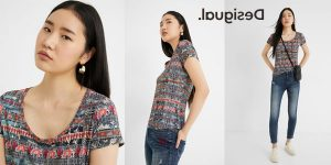 Camiseta de manga corta Desigual Santorini para mujer barata en Amazon