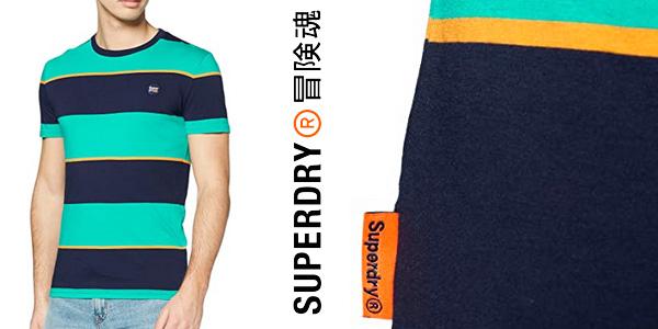Camiseta manga corta Superdry Collective Stripe para hombre chollo en Amazon