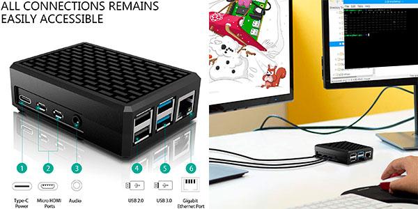 Carcasa metálica Miuzei para Raspberry Pi 4 B con refrigeración pasiva barata