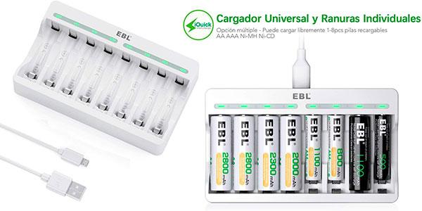 Cargador USB de pilas EBL TB-6901-ES con 8 ranuras de carga rápida barato