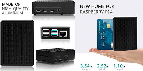 Chollo Carcasa metálica Miuzei para Raspberry Pi 4 B con refrigeración pasiva