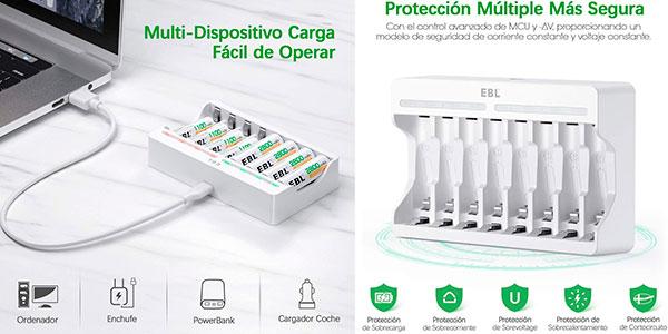 Chollo Cargador USB de pilas EBL TB-6901-ES con 8 ranuras de carga rápida