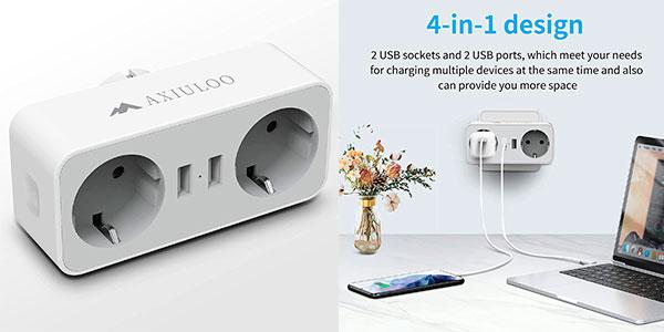 Chollo Ladrón Axiuloo con 2 enchufes y 2 USB