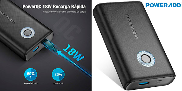 Chollo Batería externa Poweradd de 10.000 mAh con carga rápida de 18 W