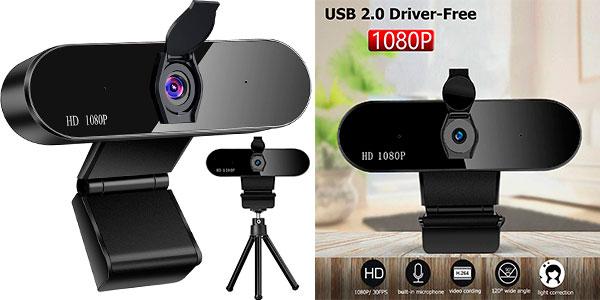 Chollo Webcam Warmtuyo Full HD USB con micrófono doble para PC