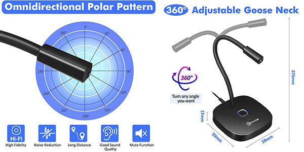 Eivotor micrófono USB ordenador relación calidad-precio