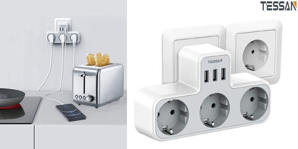 Enchufe Múltiple USB Tessan con 3 tomas Schuko y 3 puertos USB barato en Amazon