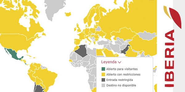 Iberia mapa requisitos entrada países viajes
