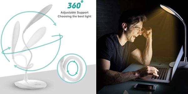 Lámpara LED de escritorio HyAdierTech regulable en 3 niveles y con 3 tonos de luz chollo en Amazon