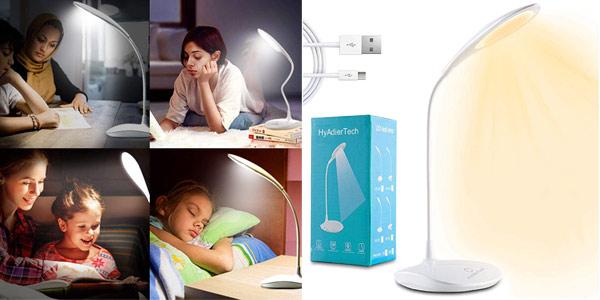 Lámpara LED de escritorio HyAdierTech regulable en 3 niveles y con 3 tonos de luz barata en Amazon