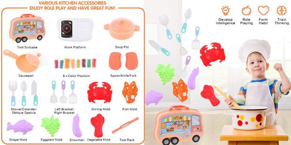 Mini cocina maletín de juguete E-More con utensilios chollo en Amazon