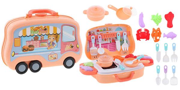 Mini cocina maletín de juguete E-More con utensilios