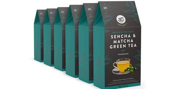 Pack x120 Pirámides Té Happy Belly Select Sencha Matcha barato en Amazon