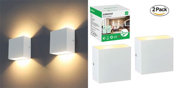 Pack x2 Apliques LED de pared Sobrovo baratos en Amazon