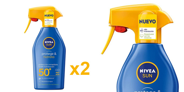 Pack x2 Spray Solar FP50+ Nivea Sun Protege & Hidrata de 300ml/ud barato en Amazon