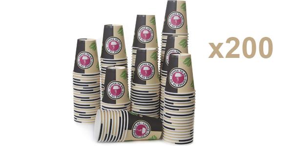 Pack x200 Vasos desechables de cartón para llevar bebidas calientes y frías de 240 ml/ud barato en Amazon